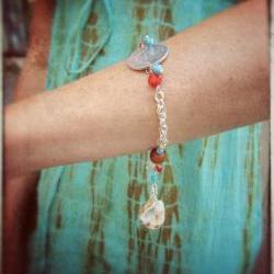 Playa Vida bracelet silver chain shells coral turquoise amber horn charm dangle custom