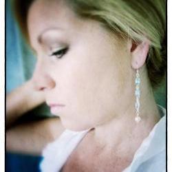 Dewdrops dangel earrings sterling pearls aquamarine bridal long chain