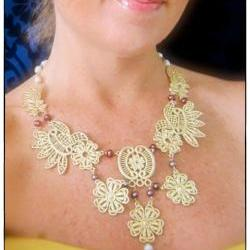 Elegant Affair bold statement necklace gold lace detail pearls Haute Fashion Victorian French style