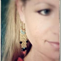 Hesperides gold hoops earrings red coral gold chain chandelier dangle charm crystal turquoise